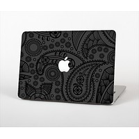 The Dark Gray & Black Paisley Skin Set for the Apple MacBook Air 11""