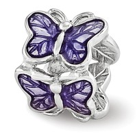 Sterling Silver and Purple Enameled Butterflies Bead Charm