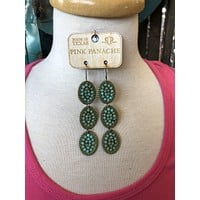 1E483TT Turquoise triple mini ovals with turquoise cabochons