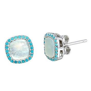 Natural Opal Stud Blue Topaz Halo Stud Earrings