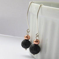Lava, Copper And Silver Earrings inspired by iceland  - Rock Jewelry - Everyday Use Jewelry - Simple Handmade Jewelry