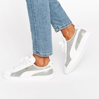 Puma | Puma Classic Suede Basket Sneakers In White And Gold Metallic at ASOS