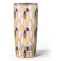 The Coral Colored SurfBoard Pattern - Skin Decal Vinyl Wrap Kit compatible with the Yeti Rambler Cooler Tumbler Cups