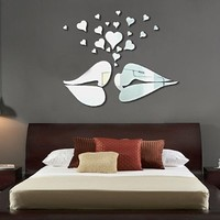Toprate(TM) Lover Lips Love Hearts Modern Stylish Fashion Art Design Removable DIY Acrylic 3D Mirror Wall Decal Wall Sticker for Bedroom TV Background Wall Home Decoration Silver