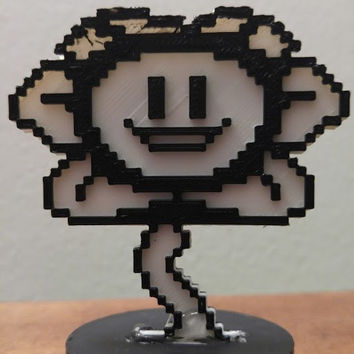 Good and Evil Flowey , Undertale , Two sides , complete with stand.