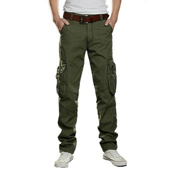 High New Casual Men Tactical Cargo Pants Slim multi-pockets Men Pants Three colors available Fashion Cargo Pants Hot Sale