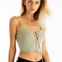 Ready To Lace Up Crop Tank in Olive