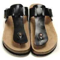 Birkenstock Leather Cork Flats Shoes Women Men Casual Sandals Shoes Soft Footbed Slippers-7