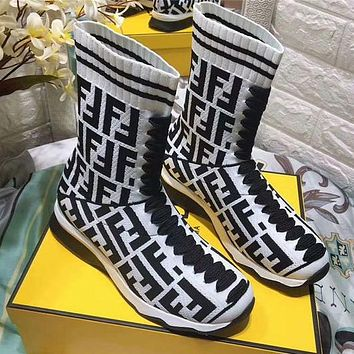 FENID Socks Shoes Letter Embroidered Long Socks Boots Casual Shoes