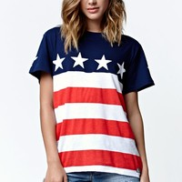 Young & Reckless Stars and Stripes Boyfriend T-Shirt - Womens Tee - Multi - Small