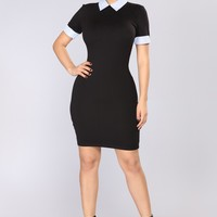 Wednesday Collar Dress - Black/Blue