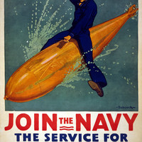 WWI Poster Join The Navy, The Service For Fighting Men / Babcock.