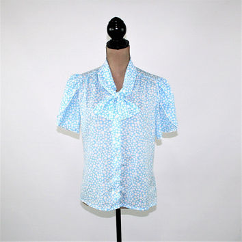 Bow Blouse Short Sleeve Button Up Light Blue White Polka Dot Top Puff Sleeve Tulip Size 8 Blouse Vintage Clothing Womens Blouse Medium