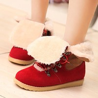 Mixed Colors Women Snow Boots Lace Up Fur Inside Winter Shoes Woman 2016 3485