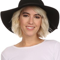 Sakkas Cosette Womens Wool Structured Wide Brimmed Floppy Hat With Leather Band