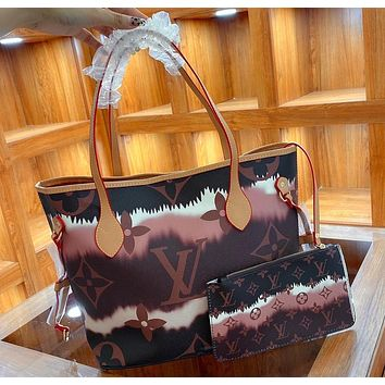 Louis Vuitton Classic Letter Print Shopping Bag with Small Wallet Fashion Lady Messenger Shoulder Bag Brown
