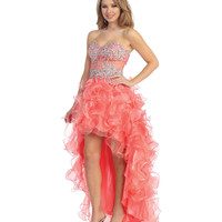 2014 Prom Dresses - Coral Illusion & Tulle High-Low Dress