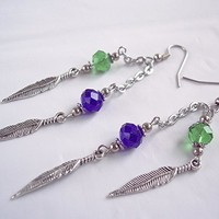 Seahawks Feather Charm and Crystal Earrings Lime Green Navy and Silver