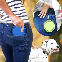 ONETOW Food Grade Silicone Foldable Dog Bowl Outdoor Portable Hound Sporting Dog Feeder Water Bowl Dishes Climbers Emergency Equipment