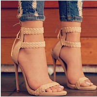 The new strappy strappy high heel sandals for ladies shoes