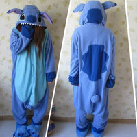 Designer kawaii Anime Animal Blue lilo Stitch Pajamas Adult Unisex Women Men Onesuit Polyester Polar Fleece One Piece Sleepwear