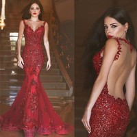 red backless prom dresses, sexy prom dress, long prom dress, dresses for prom, Mermaid prom dress, 16213 sold by OkBridal