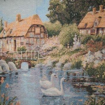 """DaDa Bedding Lakeside Village Scene French Country Elegant Tapestry Wall Hanging - 36"""" x 36"""""""