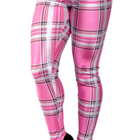 Pink Plaid Leggings Design 280