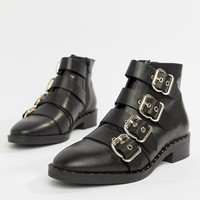 ASOS DESIGN Avid Leather Studded Ankle Boots at asos.com