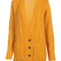 Boyfriend Knitted Cardigan in Mustard - Find Cheap Clothes - Cheap Clothing - Womens £5 Fashion | Missrebel