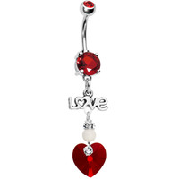 Handcrafted Red CZ Love Heart Dangle Belly Ring | Body Candy Body Jewelry