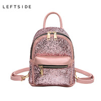LEFTSIDE 2017 Women's Sequins Pu Leather Backpack children backpacks mini women back Bag fashion small back pack for teenage