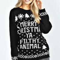 Merry Christmas Ya Filthy Animal Christmas Sweater Jumper - CHRISTMAS COLLECTION - Red Green White Black