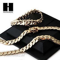 14k Gold Finish Heavy 12mm Miami Cuban Link Chain Necklace Bracelet Various SetE