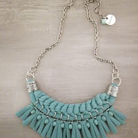 Sea Green Textile Woven Statement Necklace, Tshirt Jersey Necklace, Boho Chic Fringe Bib Necklace, Turquoise Tribal Necklace Hippie Jewelry