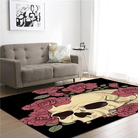 Skull Roses Memory Foam Larger Carpet Area Rug