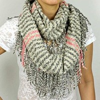 Winter Fashion Fringe Infinity Scarf (Gray Multi Colored)