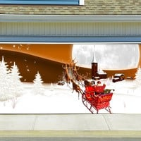 Christmas Garage Door Cover Banners 3d Santa In A Sleigh Holiday Outside Decorations Outdoor Decor for Garage Door G43