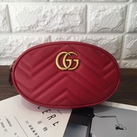 Gucci Popular Women Fashion Shopping Bag Waist Bag Single-Shoulder Bag Red I