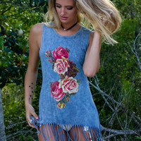 Thorns On Roses Blue Fringed Tank