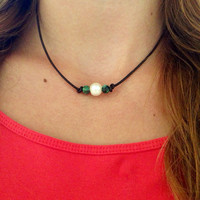 Freshwater Pearl Leather Choker with African Turquoise