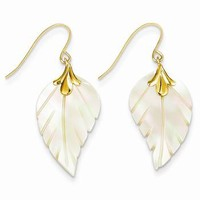 14k Yellow Gold Mother of Pearl Leaf Dangle Earrings