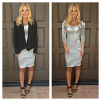 Stripe Tease Midi Dress - BLACK & WHITE