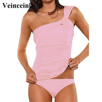 Pink Extra large one single shoulder bathing suit 2017 swimsuit bikini set plus size swimwear women beach wear swim biquini V342