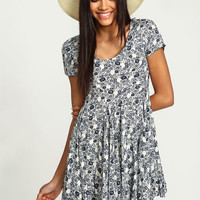 FINE CHINA FLORAL FLARE DRESS