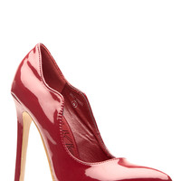 Wine Faux Patent Scalloped Pointed Toe Heels