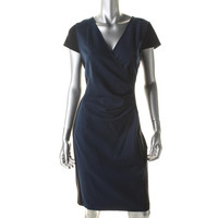 Kenneth Cole New York Womens Chantal Ruched Knee-Length Wear to Work Dress