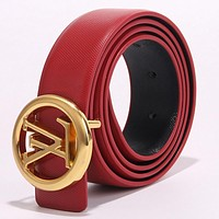 Samplefine2 Louis Vuitton LV Newest Trending Girls Boys Circular Buckle Leather Belt Red