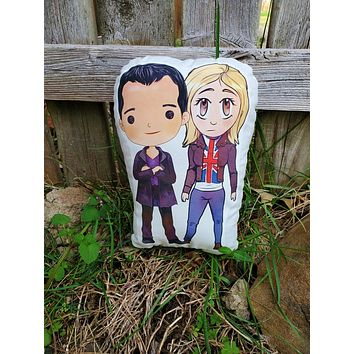 Nine and Rose Double Pillow Pal. Doctor Who Pillow Pal.