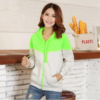 Thick Fit Hoodies Zip-up Outwear Coat Fluorescent Color Patchwork Plus Size S-2XL Casual Sportswear Hooded Sweatshirts